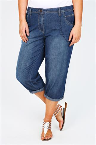 Mid Blue Lightweight Denim Boyfriend Crop Jeans