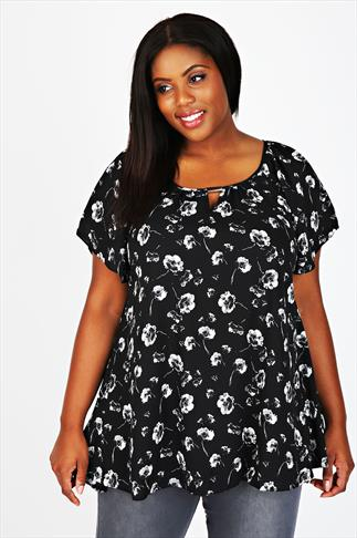 Black And White Floral Print Blouse With Bar & Keyhole Detail