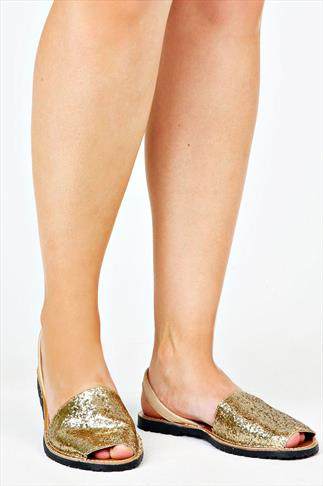 Real Leather Gold Glitter Wide Fit Peep Toe Sandal