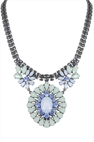 Light Green & Blue Jewelled Statement Necklace
