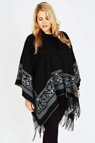 Black And Grey Boarder Print Wrap With Aztec Jacquard