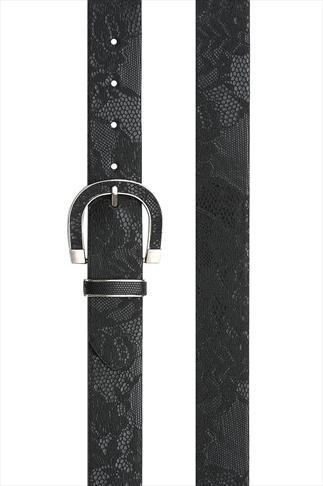 Black Printed Lace Pu Jean Belt