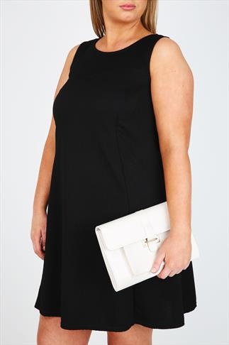 White Over Strap Clutch With Front Pocket Detail