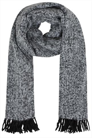 Grey Boucle Scarf With Tassels