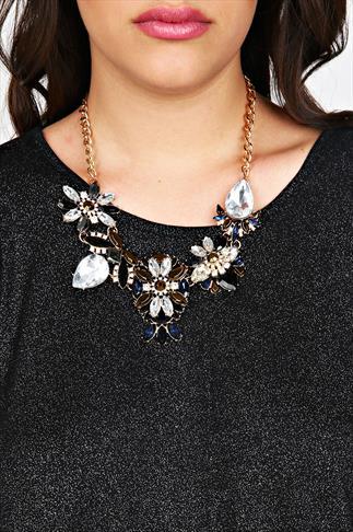Navy Floral Stone Embellished Statement Necklace