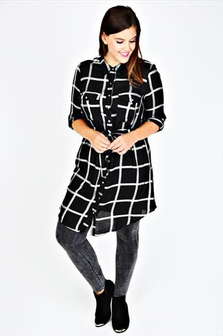 Black And White Check Shirt Tunic With Tie Waist
