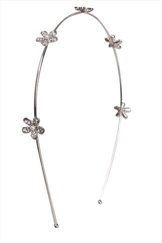 Silver Pearl Floral Headband