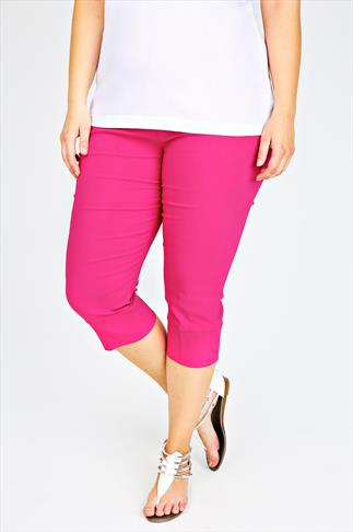 Hot Pink Pull On Stretch Bengalin Cropped Trousers