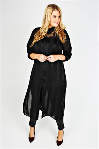 Black Sheer Contrast Striped Maxi Length Shirt