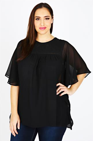 Black Angel Sleeve Embroidered Chiffon Blouse