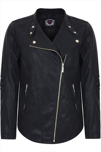 Black PU Biker Jacket With Side Zip And Gold Trims