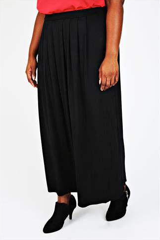 Black Pleated Front Maxi Skirt