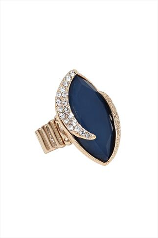 Dark Blue Stone & Crystal Gold Stretch Ring