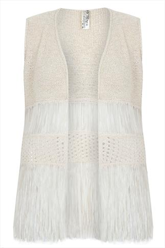 Cream And Gold Metallic Yarn Knit Waistcoat With Fringing