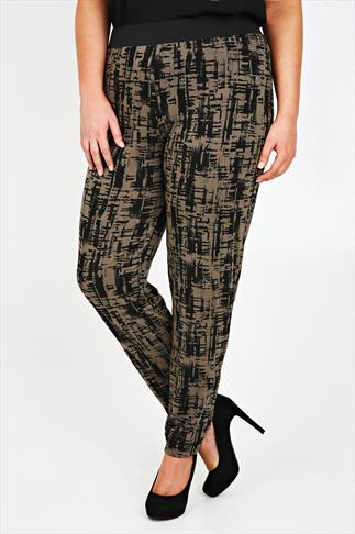 Khaki And Black Brush Stroke Print Harem Trousers