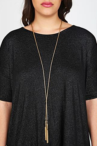 Gold Long Chain Drop Tassel Necklace
