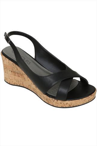 Black Crossover Peep Toe Cork Wedge Sandal In A EEE Fit