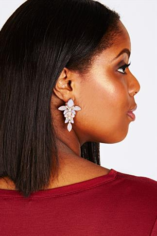 Pastel Pink Effect Drop 2 in 1 Statement Earrings