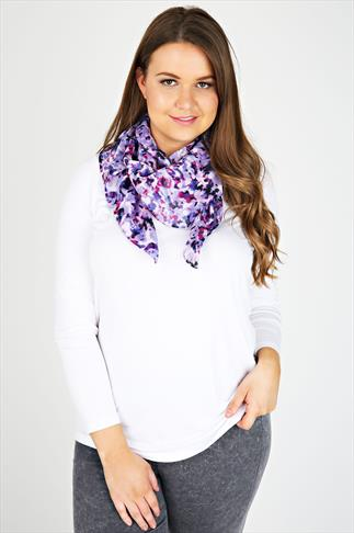 Purple Smudge Print Scarf