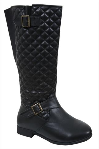 Black Quilted Riding Boot With Stretch Panel In EEE Fit