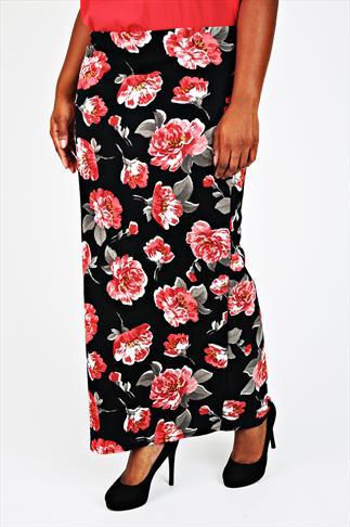 Black & Red Rose Print Textured Maxi Tube Skirt