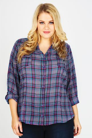 Blue, Green & Pink Checked Double Pocket Shirt