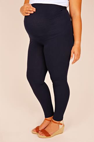 BUMP IT UP MATERNITY Navy Cotton Elastane Leggings With Comfort Panel