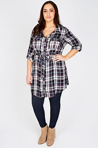 Navy, White & Dark Red Checked Shirt Tunic With Tie Waist