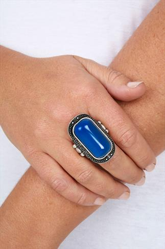 Silver And Cobalt Antique Stone Stretch Ring Stone Stretch Ring