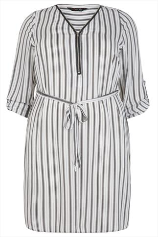 Black & White Stripe Zip Front Dress With Waist Tie