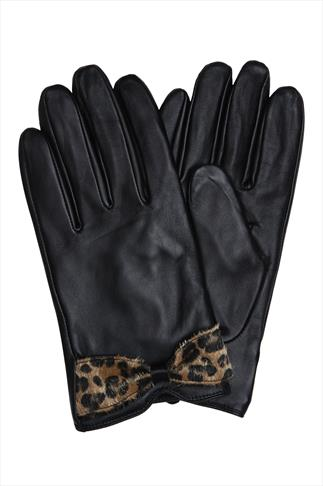 Black Leather Gloves With Faux Pony Fur Animal Print Bow