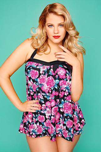 Pink Floral Print A-Line Halterneck Tankini Top
