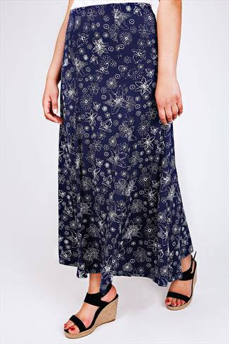 Navy & White Dotted Floral Print Jersey Maxi Skirt With Panel Detail