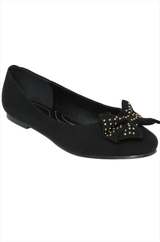 Black Microfibre Ballerina Pump With Studded Bow in EEE Fit