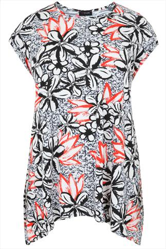 Black, White And Orange Floral Tropical Print Top
