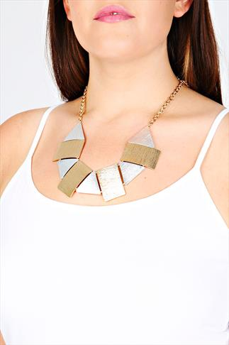 Silver & Gold Chunky Textured Shape Necklace