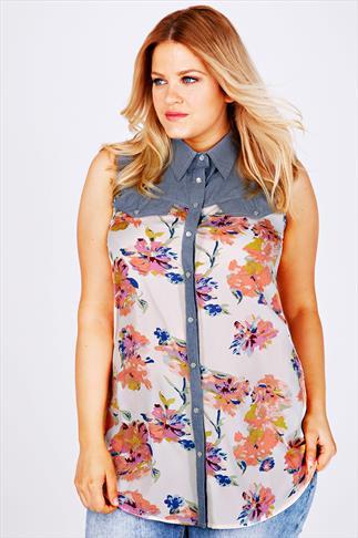 Multi Floral Print Sleeveless Shirt With Chambray Yoke Panel