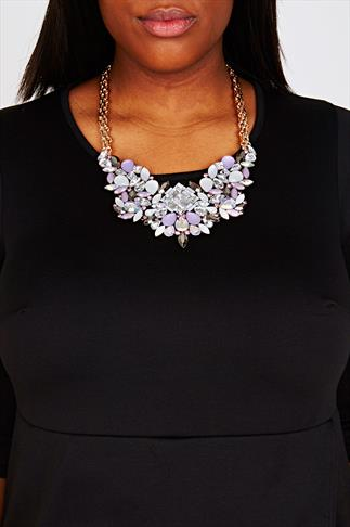 Pastel Purple Stone Embellished Statement Necklace