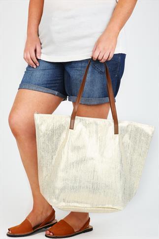 Gold Metallic Straw Beach Bag With PU Straps