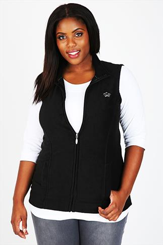 Black Microfleece Gilet With Zip Front & Silver Crown Embroidery