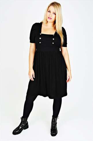 Black Jersey Dress With Military Button Detail