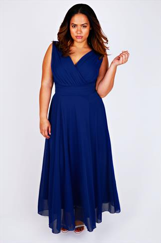 SCARLETT & JO Cobalt Blue Chiffon Maxi Dress