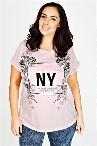 Pink Short Sleeve Floral Print Slogan T-shirt