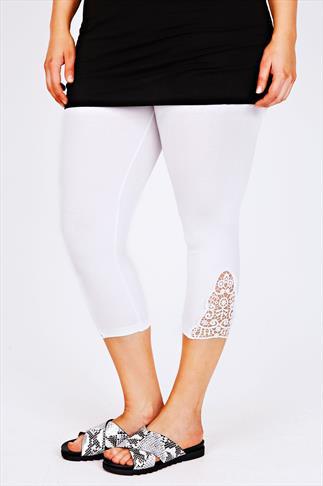 White Cotton Elastane Crop Legging With Crotchet Detail