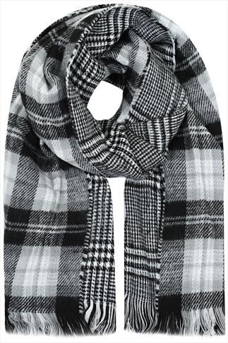 Grey, White & Black Checked Print Reversible Scarf