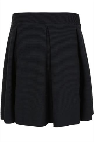 Black Ribbed Skater Skirt With Pleating
