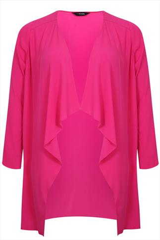 Magenta Edge to Edge Waterfall Crepe Lightweight Long Jacket