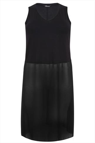 Black Sleeveless Longline Top With Sheer Bottom Panel