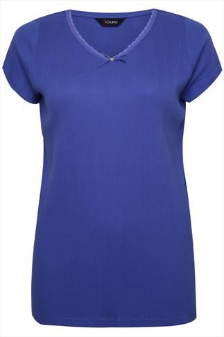 Purple Ribbed Cotton Pyjama Top With Lace And Bow Trim