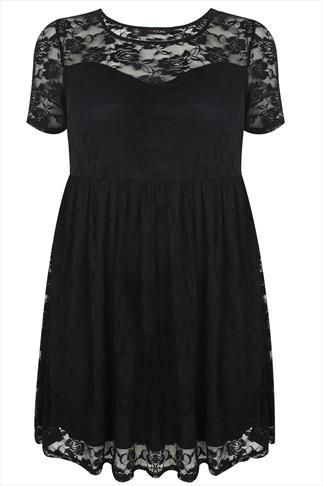 Black Short Sleeve Lace Skater Dress